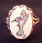 Vintage Sterling Scrimshaw Humming Bird Ring Signed
