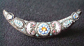 Micromosaic Crescent Shaped Pin / Brooch Italy c. 1900
