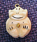 Vintage Billiken 14K Gold and Ivory Charm Pendant