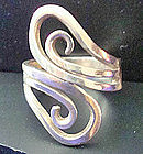 Vintage Sterling Silver Mod Wraparound Ring Mexico