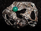 Mod Sterling Silver Textured Pin Green Stone c. 1970