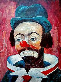 Vintage Colorful Clown Print by Michele c. 1960's