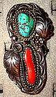 Large Sterling Coral Turquoise Native American Ring