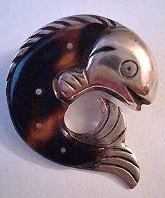 William Spratling Sterling Tortoiseshell Pin Signed