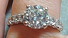 Brilliant Platinum Diamond Engagement Ring c. 1940s