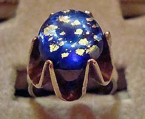 Stunning Sterling Silver Ring Mexico Blue Glass