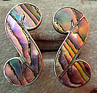 Sterling Mexico Swirl Abalone Screwback Earrings