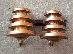 Vintage Brass Modernist Screwback Earrings Unusual