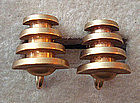 Vintage Brass Modernist Screwback Earrings Unusual
