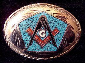 Silver Enamel Masonic Belt Buckle Square & Compass