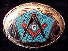 Silver Enamel Masonic Belt Buckle Square & Compass