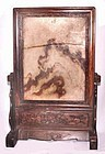 Chinese Blackwood Marble Scholar's Screen - 19th C.