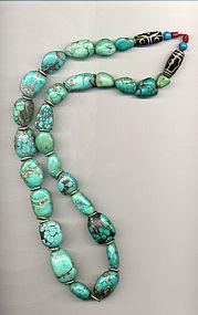 Tibetan Turquoise Bead Necklace with 2 Glass dZi Beads