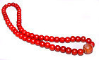 Chinese Red Coral Glass Bead Necklace - 19th Century