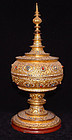Burmese Relief Moulded Gilt Lacquered Receptacle