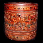 Large Burmese Yun Lacquered Betel Box - 19th Century