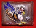 Japanese Cloisonne Box with Tray Signed -19 Century
