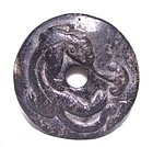Chinese Black Han Dragon Jade Bi Disc