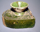 Authentic Chinese Green Glazed Han Stove with Wok