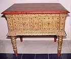Rare Burmese Glass Inlaid Gilded Table