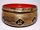 Burmese Gold-Leaf Lacquerware Bowl - Early 20th C.