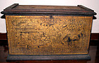 Burmese Gold Leaf Temple Teak Scripture Chest - 19C.