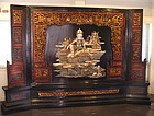 Rare Chinese Quanyin Lacquer Panel Screen  - 19th C