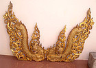 Two Rare Old Large Burmese Gilded Dragon Nagas