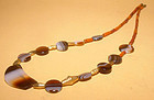 Ancient Agate Bead Necklace with Gold - 100BC