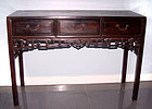 Rare Chinese Three Drawer Blackwood Hongmu Table