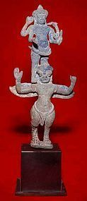 Khmer Bronze of Vishnu Astride Garuda-12th Century