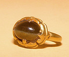 Ancient Khmer Gold Ring with Cat's Eye Stone