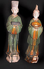 Lg.Matching Pair of Ming Attendants 1368 - 1644 AD