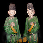 Pair Chinese Sancai Ming Male Attandents -1368 -1644 AD