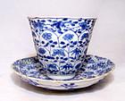 Chinese B/W Vung Tau Cup & Saucer - Kangxi - 1690 AD