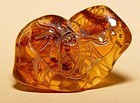 Chinese Natural Two Bat Amber Pendant