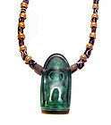 Pyu Glass Pendant Necklace with Agate and Gold Beads - 100 -500 AD
