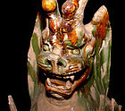 Large Chinese Tang Sansai Glazed Tomb Guardian  - 618 -907 AD