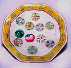 Chinese Nyonya Plate with Peach & Buddha Symbols - 19th Century
