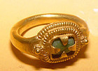 Ancient Gold Ring with a Green Stone - Angkor Wat Period