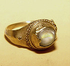 Ancient Cabochon Quartz Crystal Gold Ring
