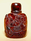 Chinese Amber Snuff Bottle with Birds & Florals