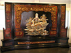 Rare Very Large Chinese Quanyin Lacquer Panel Screen  - 19th C