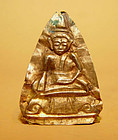 Gold Repousse Buddha Sitting on a Singhasana - 15C.