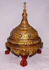 Burmese Relief Molded Gilded Covered Temple Container 19th Century