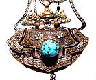Tibetan Lady's Purse with Silver Carvings Complete
