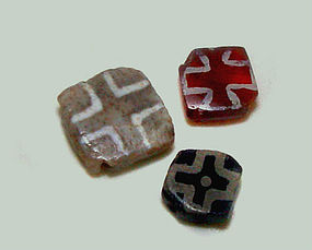 Three Rare Pyu Cross Beads - 100 -500 AD