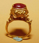 Rare Ancient Pyu Gold Ruby Ring  100 - 500 AD