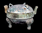Ancient Chinese Bronze Tripod Vessel Ding -  475-221 BC