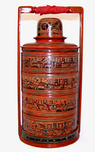 Burmese Old Lacquered Tiffin Food Container